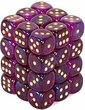 Dice Gaming Supplies 36 Count 12mm 6-Sided d6 Dice Pack Borealis [Royal Purple/Gold 27867]