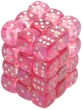 Dice Gaming Supplies 36 Count 12mm 6-Sided d6 Dice Pack Borealis [Pink/Silver 27804]