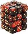 Dice Gaming Supplies 36 Count 12mm 6-Sided d6 Dice Pack Gemini [Black-Red/Gold 26833]