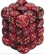 Dice Gaming Supplies 36 Count 12mm 6-Sided d6 Dice Pack Vortex [Burgandy/Gold 27834]