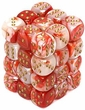 Dice Gaming Supplies 36 Count 12mm 6-Sided d6 Dice Pack Gemini [Red-White/Gold 26843]