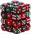 Dice Gaming Supplies 36 Count 12mm 6-Sided d6 Dice Pack Gemini [Green-Red/White 26831]
