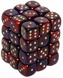 Dice Gaming Supplies 36 Count 12mm 6-Sided d6 Dice Pack Gemini [Purple-Red/Gold 26826]