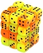 Dice Gaming Supplies 36 Count 12mm 6-Sided d6 Dice Pack Gemini [Orange-Yellow/Black 26842]