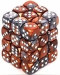 Dice Gaming Supplies 36 Count 12mm 6-Sided d6 Dice Pack Gemini [Copper-Steel/White 26824]