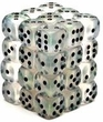 Dice Gaming Supplies 36 Count 12mm 6-Sided d6 Dice Pack Borealis [Clear/Black 27800]