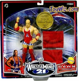 WWE Wrestlemania XXI 21 Exclusive Series 2 Signature Gear Kurt Angle with Wrist Bands & Gold Medal
