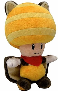 Super Mario 8 Inch Plush Flying Squirrel Yellow Toad