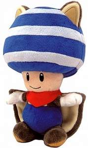 Super Mario 8 Inch Plush Flying Squirrel Blue Toad