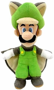 Super Mario 9 Inch Plush Flying Squirrel Luigi New!