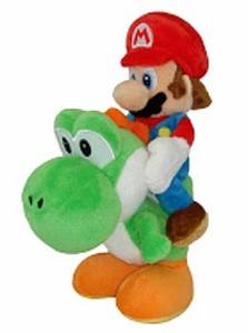 Super Mario Brothers 8 Inch Plush Mario Riding Green Yoshi