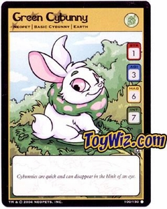 Neopets Hannah and Ice Caves Common Single Card # 100 Green Cybunny