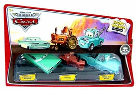 Disney / Pixar CARS Movie 1:55 Die Cast Story Tellers Collection 3-Pack Wedding Day Ramone, Tractor & Brand New Teal Mater