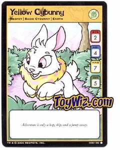 Neopets Hannah and Ice Caves Common Single Card # 105 Yellow Cybunny