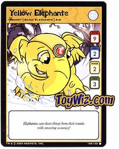 Neopets Hannah and Ice Caves Common Single Card # 106 Yellow Elephante