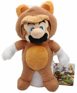 Super Mario 8 Inch Plush Mario in Tanooki Suit