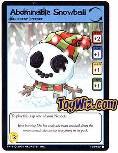 Neopets Hannah and Ice Caves Common Single Card # 108 Abominable Snowball
