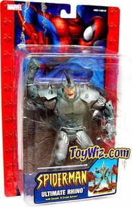 Spider-Man Action Figure Ultimate Rhino [Smash 'n Crash Action] Damaged Package! Mint Contents!