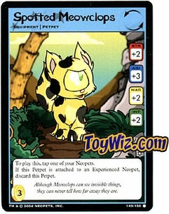 Neopets Hannah and Ice Caves Common Single Card # 145 Spotted Meowclops