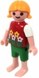 Playmobil LOOSE Mini Figure Child [Girl] in Red Floral Shirts, Green Pants, No Shoes [Light Flesh]
