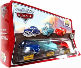 Disney / Pixar CARS Movie 1:55 Die Cast Story Tellers Collection 3-Pack Doc Hudson, Brand New Mater & Sponsorless McQueen