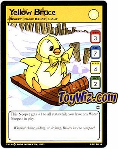Neopets Hannah and Ice Caves Uncommon Single Card # 61  Yellow Bruce