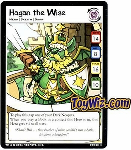 Neopets Hannah and Ice Caves Uncommon Single Card # 76  Hagan the Wise