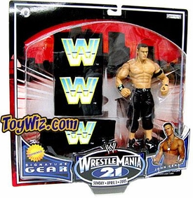 WWE Jakks Pacific Wrestlemania XXI 21 Exclusive Signature Gear John Cena Action Figure with Wristbands
