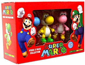 Super Mario Mini Figure 3-Pack Yoshi Collection {Version 1} [Blue, Yellow & Pink]
