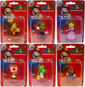 Popco Super Mario Series 1 Set of 6 Mini Figure Keychains [Mario, Peach, Toad, Luigi, Yoshi & Donkey Kong]