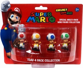 Super Mario Mini Figure 4-Pack Toad Collection [Red, Yellow, Blue & Green Toads]