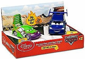 Disney / Pixar CARS Movie Exclusive 1:48 Die-Cast Cars with Neon Lights 2-Pack Wingo & DJ