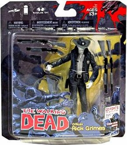 McFarlane Toys Walking Dead COMIC Series 1 Exclusive Action Figure Officer Rick Grimes Black & White Variant