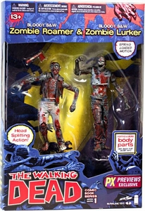 McFarlane Toys Walking Dead COMIC Series Exclusive Action Figure 2-Pack Bloody Black & White Zombies [Lurker & Roamer]
