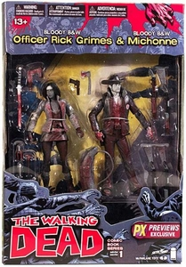 McFarlane Toys Walking Dead COMIC Series Exclusive Action Figure 2-Pack Bloody Black & White Rick Grimes & Michonne