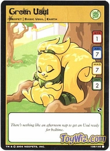 Neopets Trading Card Game Battle for Meridell Common Single Card #108 Green Usul