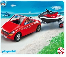 Playmobil Harbor Set #5133 Red Convertible with Personal Watercraft