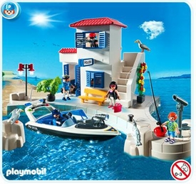 Playmobil Harbor Set #5128 Harbor Police Station with Speedboat