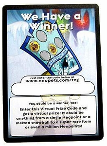 Neopets Hannah and the Ice Caves Rare Item Prize Code Card