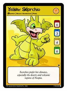 Neopets Trading Card Game Common Single Card #174 Yellow Scorchio