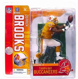 McFarlane Toys NFL Sports Picks Series 14 Action Figure Derrick Brooks (Tampa Bay Buccaneers) Retro Orange Uniform Chase Piece Slightly Damaged Package - Dinged Corner!