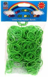Colorful Loom Bands 600 GREEN Rubber Bands with 'S' Clips