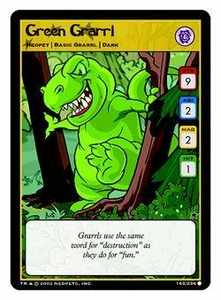 Neopets Trading Card Game Common Single Card #162 Green Grarrl