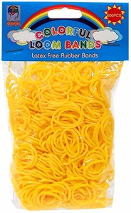 Colorful Loom Bands 600 Yellow Rubber Bands with 'S' Clips