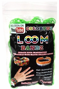 Colorful Loom Bandz 600 Green Rubber Bands with 'S' Clips