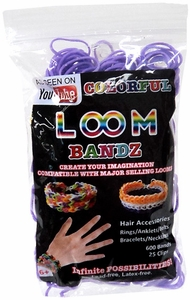 Colorful Loom Bandz 600 Purple Rubber Bands with 'S' Clips