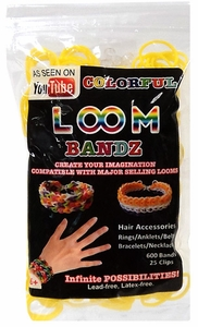 Colorful Loom Bandz 600 Yellow Rubber Bands with 'S' Clips