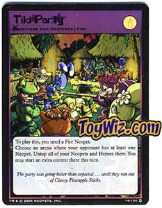 Neopets Trading Card Game Mystery Island Holofoil Rare Single #14 Tiki Party