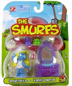 Smurfs 2 Inch Articulated Mini Figure Smurfette with Vanity Accessory