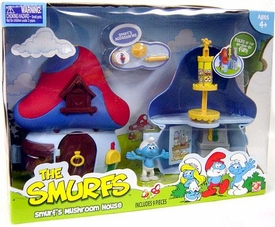 Smurfs 2 Inch Articulated Mini Figure Playset Smurf with Mushroom House